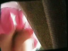 Fit blonde with a nice smooth shiny big bum in an upskirt video