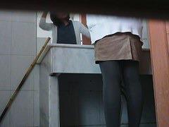 Voyeur pissing in the bathroom