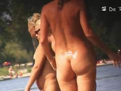 Nude amateur is having entertainment on beach spy camera