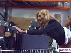 Kinky blonde milf pawns her pussy and fucked in storage room