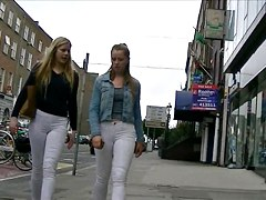 Candid girls in white jeans