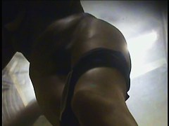 Hot changing room amateur is pantieless showing bushy cunt