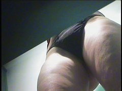 Milf in the sporting club changing room seeducing with her pelvis and hips