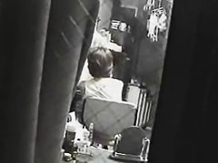 Lusty amateur sitting on chair masturbating on security cam