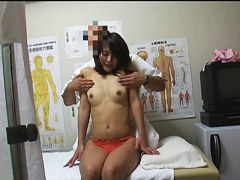 Girl stays without red thong and gets hot voyeur massage