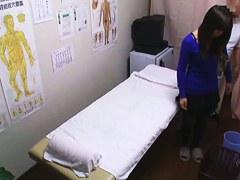 Voyeur cam shooting the medical exam of bushy amateur nub
