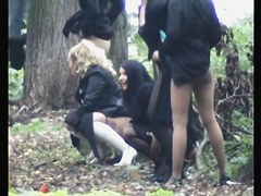 Bride and her friends show candid asses pissing in the wood