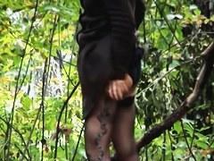 Amateur loses down pantyhose in wood on pissing voyeur video