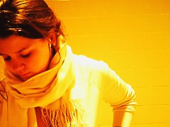 Toilet spy cam records the amateur girl in the scarf