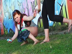 Amateur fems performed dirty public pissing on voyeur cam