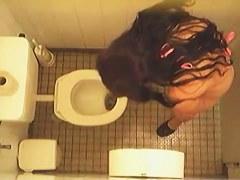 Toilet pissing girl in bikini spied on the voyeur cam