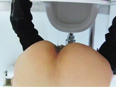 Amateur with hairy ass slit caught pissing on toilet