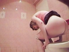 Toilet hidden cam shoots girl losing off panty and pissing