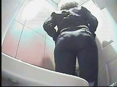 Girl on toilet voyeur scenes takes off pants and pisses