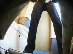 Long legged girl has pissed on the public toilet spy cam