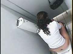 Girl got on voyeur pissing video sitting back to the cam