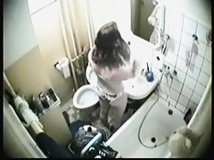 Shower hidden cam records amateur pissing and washing