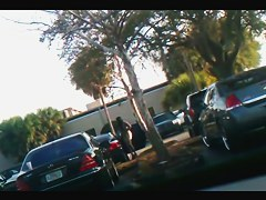 Street candid video with nude girl spied out of the car