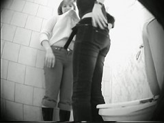 Two amateur girls in turns show asses pissing on toilet