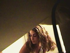Peeing hidden cam shoots curly amateur face and the pussy