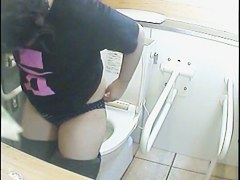 Toilet camera video with real amateurs on the bowl