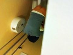 Amateur legs that look turning on spied in wc on voyeur cam