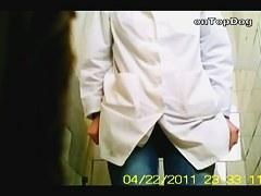 Sexy nurse voyeur toilet scenes on the horny video