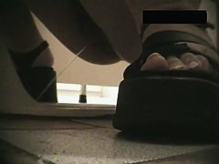 Round butted amateurs spied from behind on toilet cam