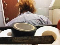 Amateur slides down full back panty before pissing on toilet