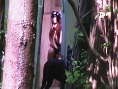 Candid girl in bikini hid among trees and got spied pissing