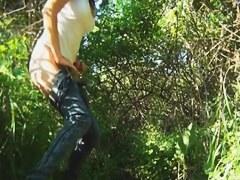 Girl in sunglasses got spied on voyeur cam pissing outdoor