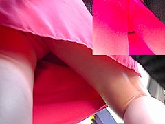 Sexy dress and matched color panties in real upskirts