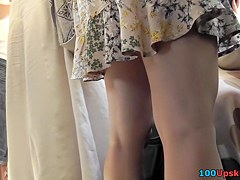 Public upskirt action with unsuspecting young chick