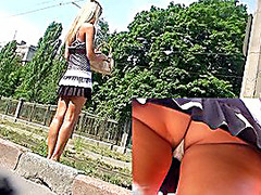 Roadside blond upskirts