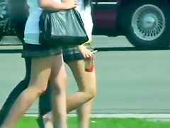 Schoolgirls short skirts nice legs
