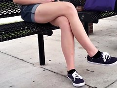 Candid crossed legs bouncing