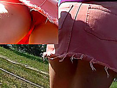 Cotton red panty on blond