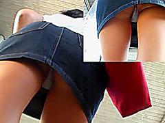 Checkered panty up denim petticoat