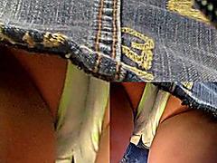 Bus full-back panty upskirt
