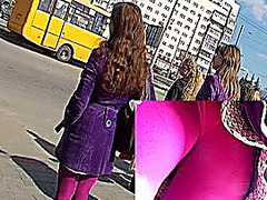 Pink leggins up violet coat