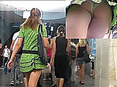 Denim mini&green string