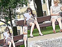 Triple upskirt on a bench