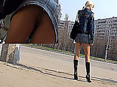 Up petticoat of blond hooker