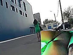 Hottie in green sexy upskirt