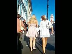 Double Upskirt Frontal Teens Thongs