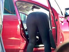 Milf black spandex car wash 2