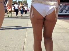 White bikini ass voyeur