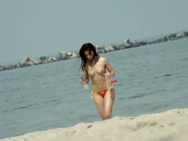Candid beach bikini