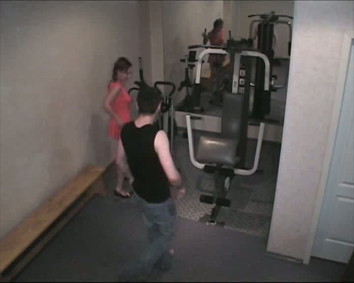Girl stretched on body builder