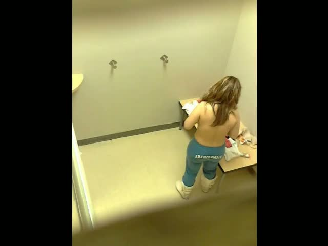 Hidden camera in changing room gets blonde with big boobs